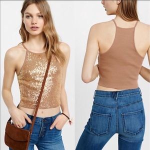 Express NWT Sequined Crop Top